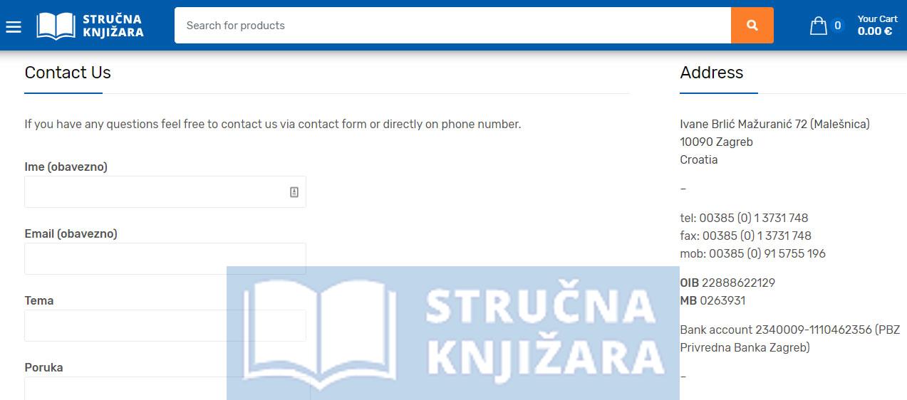 Contact Us Strucna Knjizara